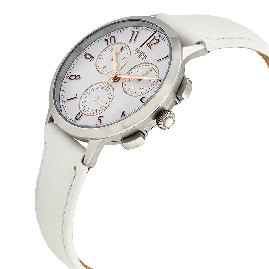 fossil abilene white dial ladies chronograph watch ch4000. Black Bedroom Furniture Sets. Home Design Ideas