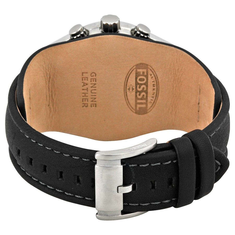 Fossil blue glass chronograph black leather strap men 39 s watch ch2564 fossil watches jomashop for Black leather strap men