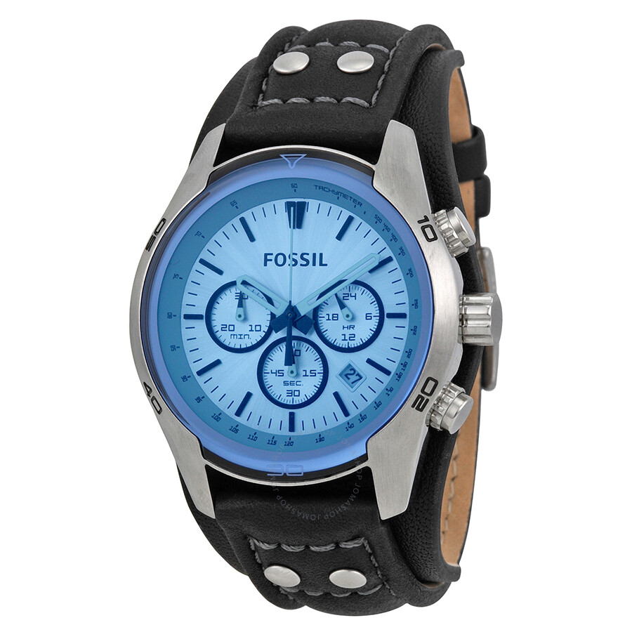 fossil blue glass chronograph black leather strap men 39 s. Black Bedroom Furniture Sets. Home Design Ideas