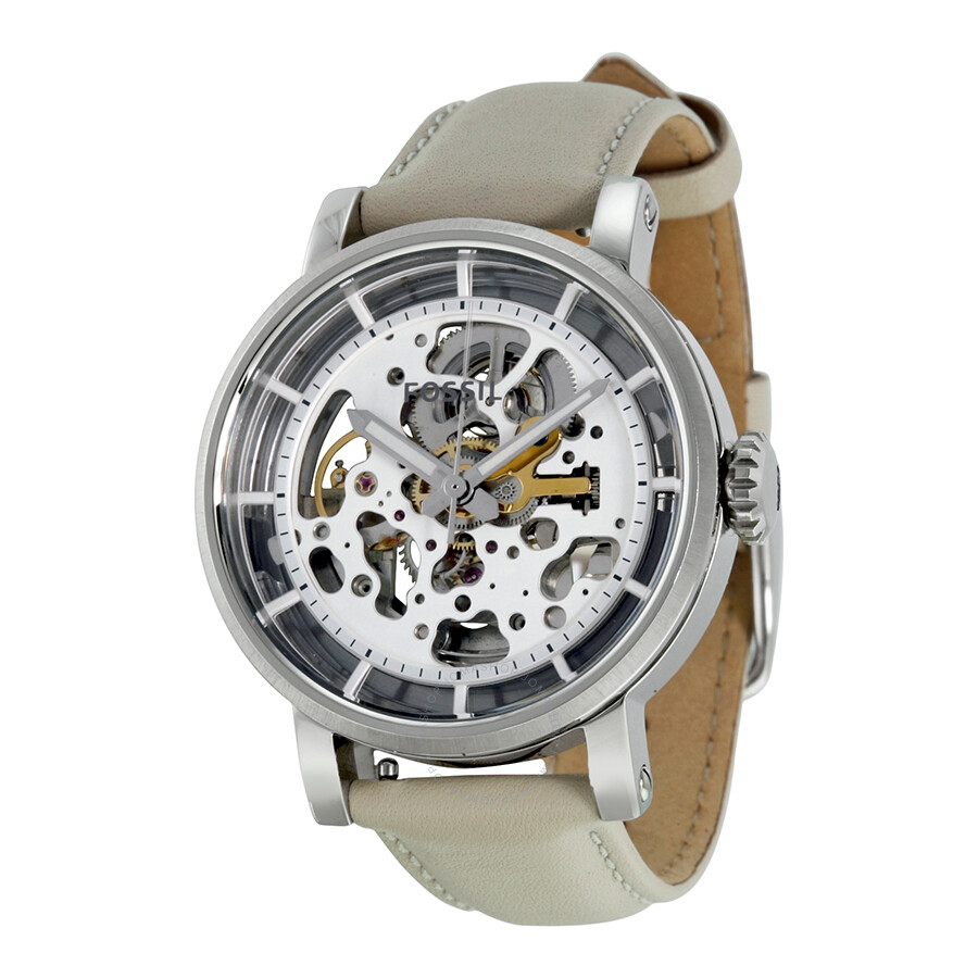 fossil boyfriend automatic skeleton dial beige leather ladies watch me3069 boyfriend fossil