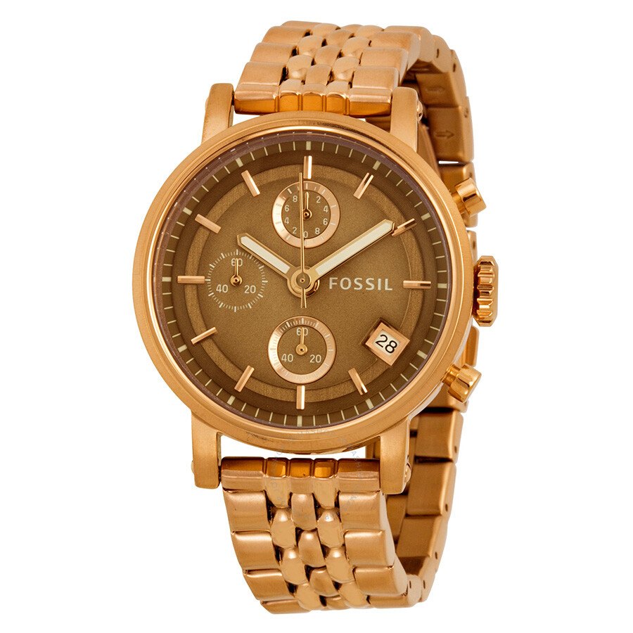 fossil boyfriend chronograph brown gold tone