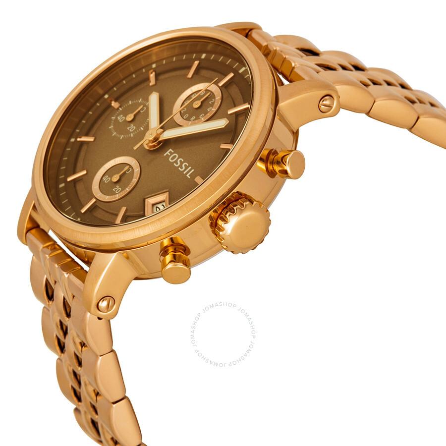fossil boyfriend chronograph brown dial rose gold tone. Black Bedroom Furniture Sets. Home Design Ideas