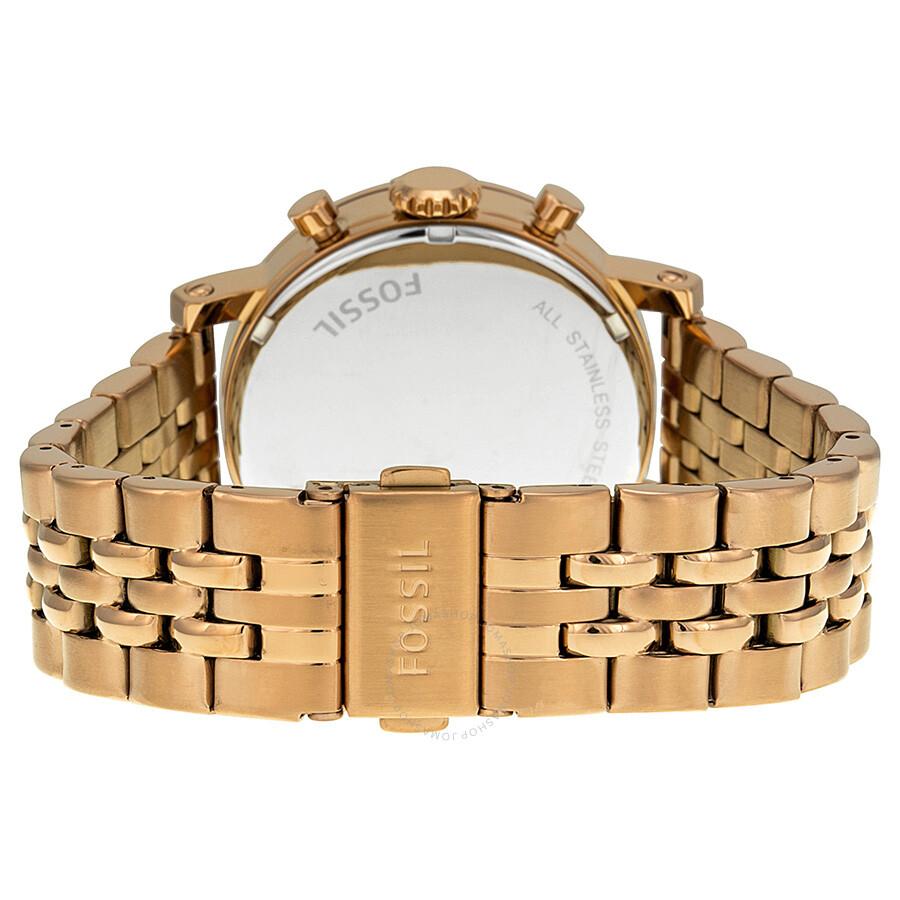 fossil boyfriend chronograph rose gold tone dial ladies. Black Bedroom Furniture Sets. Home Design Ideas