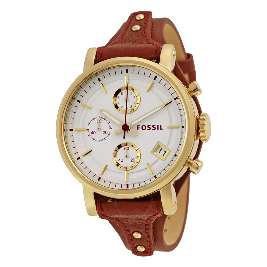 fossil boyfriend chronograph silver dial red saddle. Black Bedroom Furniture Sets. Home Design Ideas