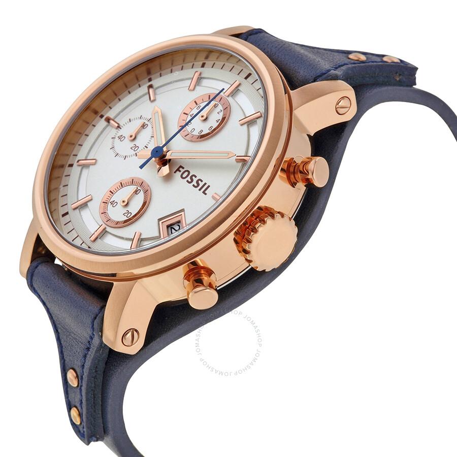 fossil boyfriend chronograph silver dial ladies watch