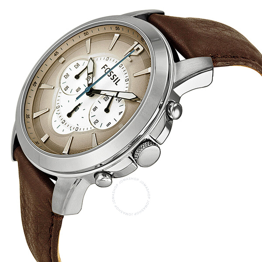 Fossil brown leather strap grey gradient analog dial chronograph men 39 s watch fs4533 fossil for Gradient dial watch