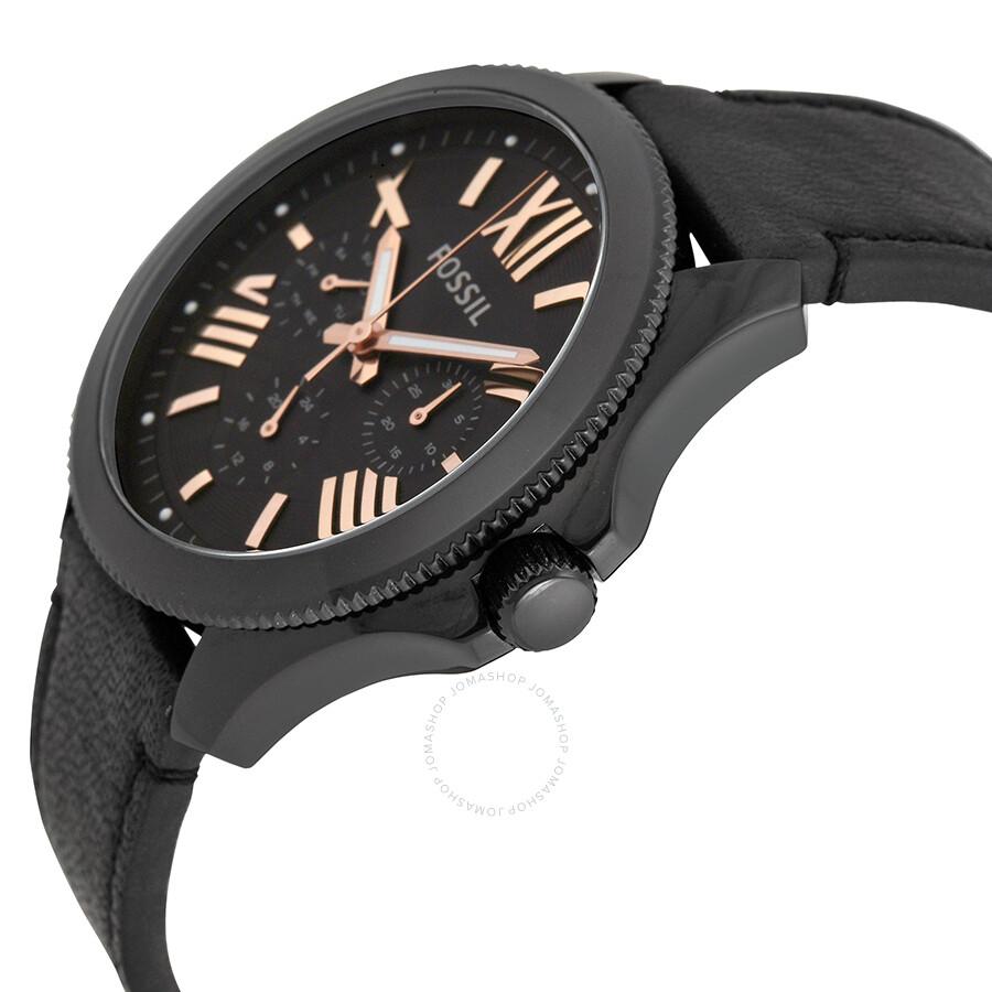 Fossil cecile black dial black leather strap men 39 s watch am4523 cecile fossil watches for Black leather strap men