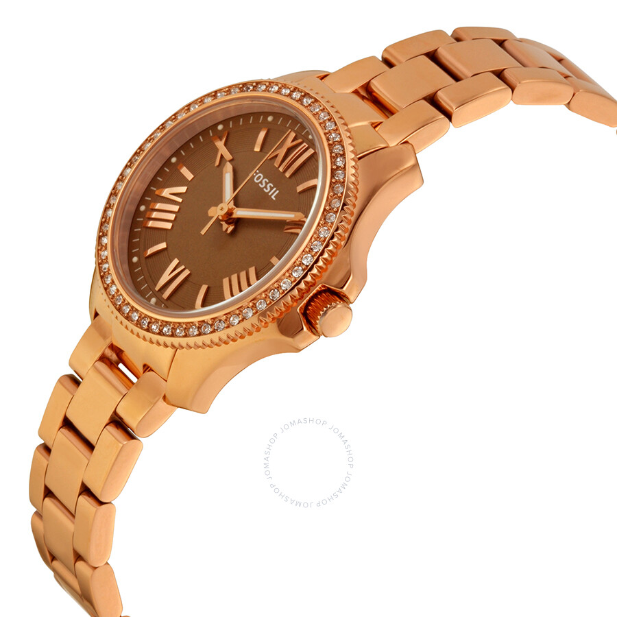 fossil cecile brown dial rose gold tone ladies watch. Black Bedroom Furniture Sets. Home Design Ideas