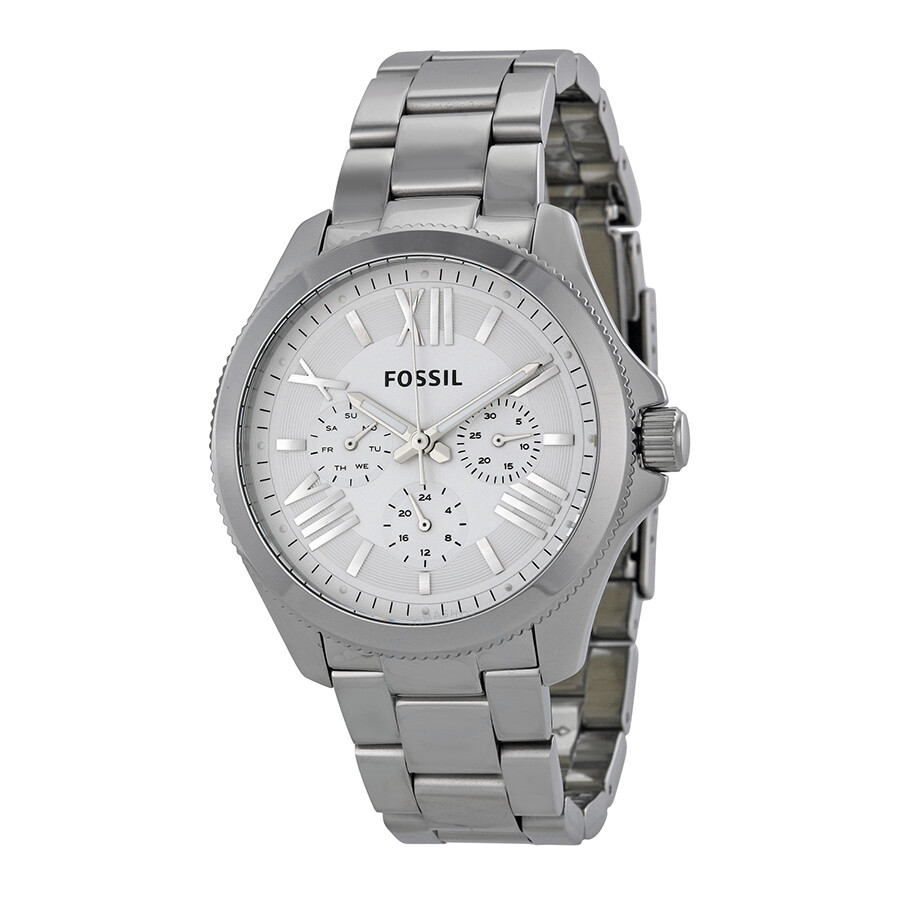 Fossil Cecile Chronograph Silver Dial Stainless Steel Ladies Watch AM4509 .