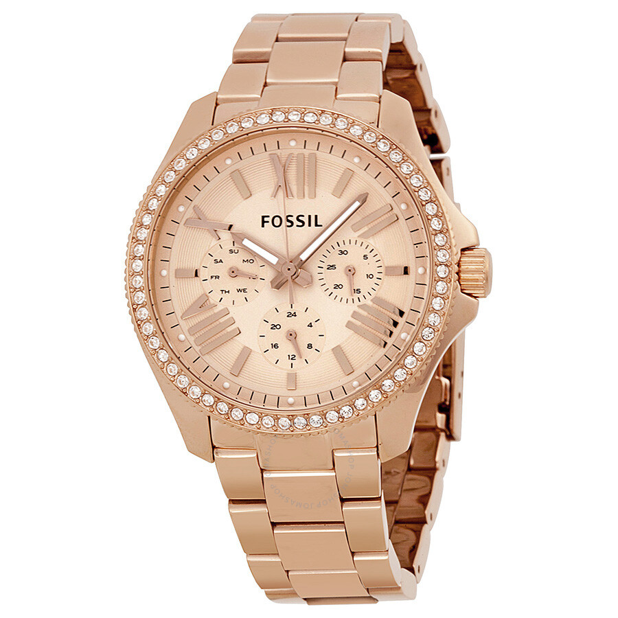 fossil cecile multifunction rose dial rose gold tone stainless steel ladies watch am4483. Black Bedroom Furniture Sets. Home Design Ideas
