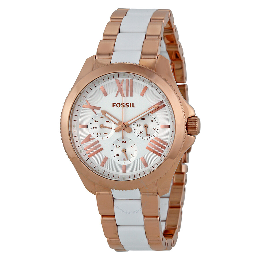fossil cecile multi function white dial rose gold plated white resin ladies watch am4546. Black Bedroom Furniture Sets. Home Design Ideas