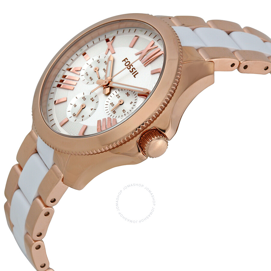 fossil cecile multi function white dial rose gold plated. Black Bedroom Furniture Sets. Home Design Ideas