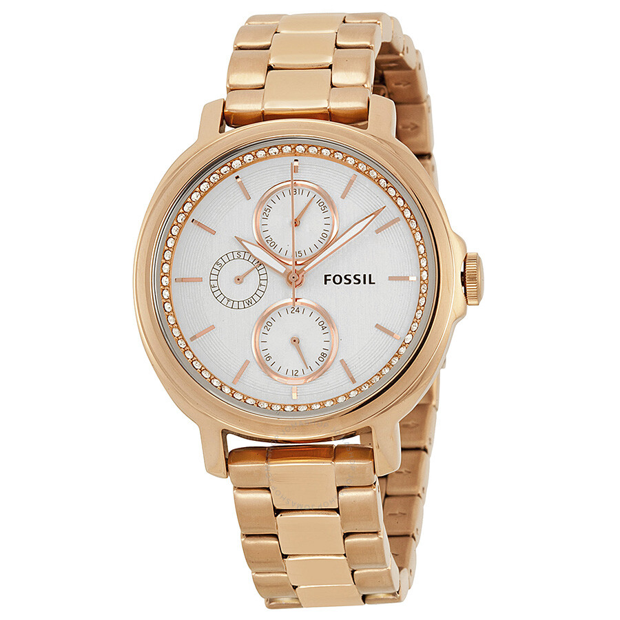 fossil chelsey multi function silver dial rose gold stainless steel ladies watch es3353 fossil On rose gold watch fossil
