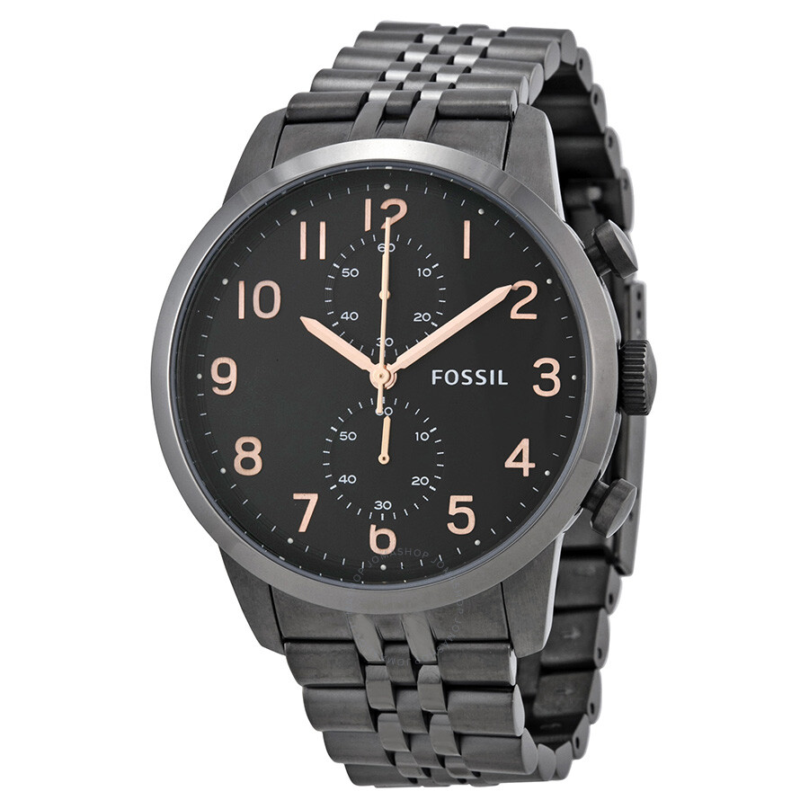 fossil chronograph black dial smoke pvd men 39 s men 39 s watch. Black Bedroom Furniture Sets. Home Design Ideas