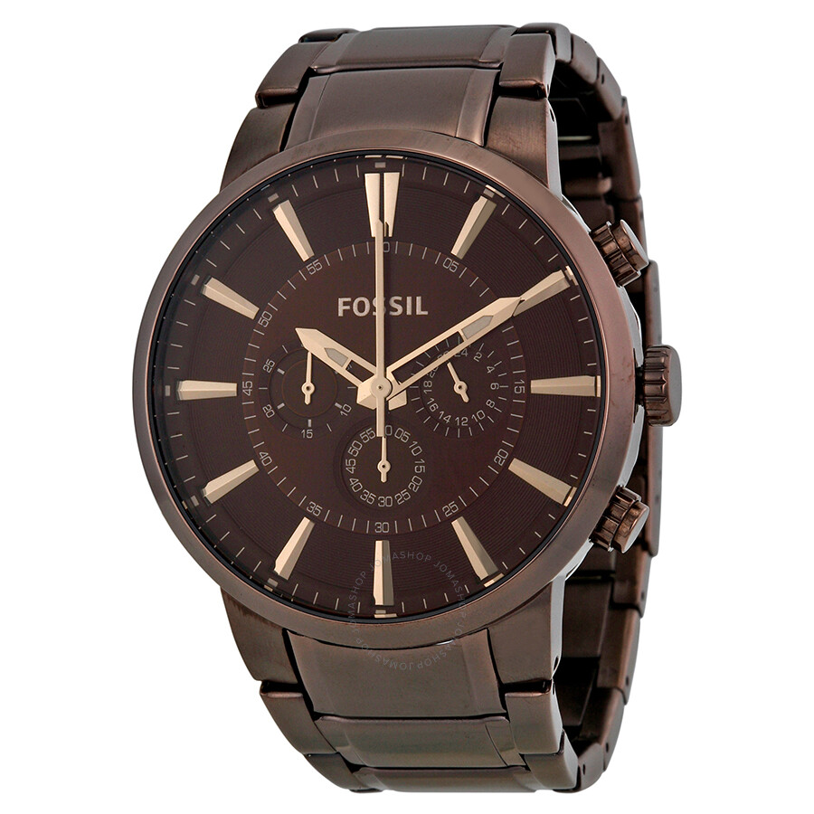 fossil chronograph brown brown ip stainless steel