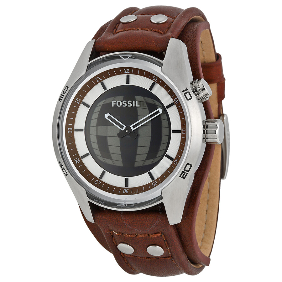 fossil coachman brown analog digital brown leather