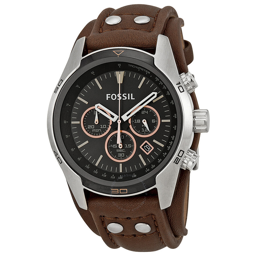 fossil coachman chronograph black dial brown leather men 39 s. Black Bedroom Furniture Sets. Home Design Ideas
