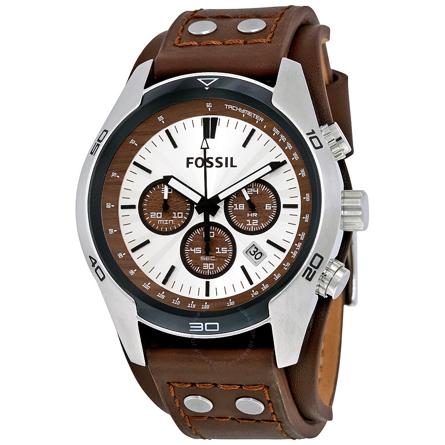 fossil coachman chronograph cuff leather men s watch ch2565
