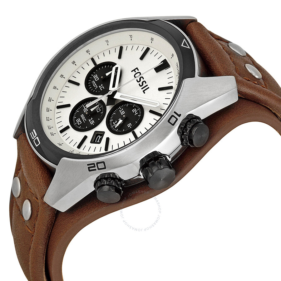 6542cdc99 ... Fossil Coachman Chronograph White Dial Brown Leather Men's Watch CH2890  ...
