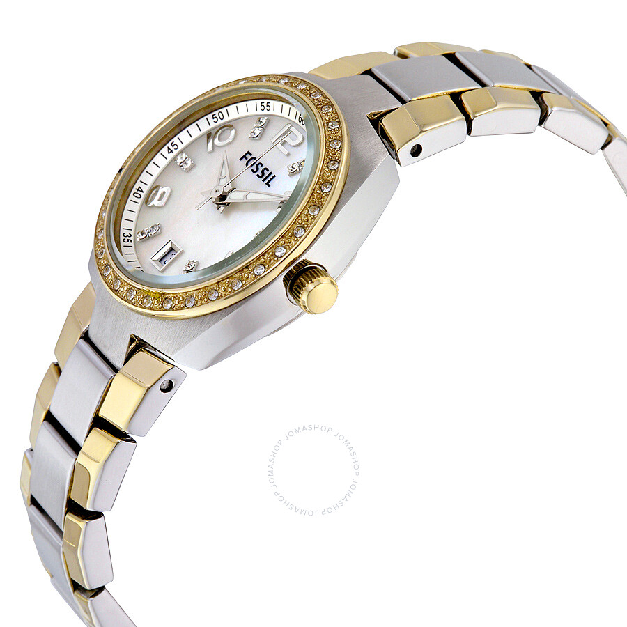 Fossil colleague mother of pearl dial two tone ladies watch am4183 colleague fossil for Mother of pearl dial watch