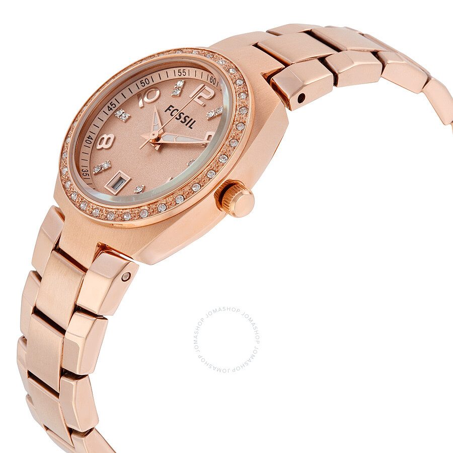 fossil colleague rose dial rose gold tone ladies watch am4508 colleague fossil watches. Black Bedroom Furniture Sets. Home Design Ideas