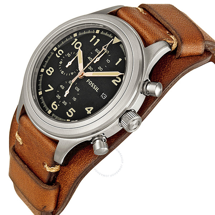 Fossil Compass Chronograph Brown Leather Men's Watch JR1432