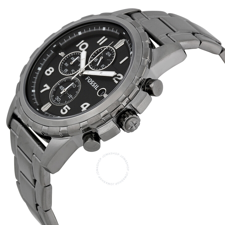 f3cd97854b2 ... Fossil Dean Chronograph Black Dial Smoke Grey Ion-plated Men s Watch  FS4721 ...