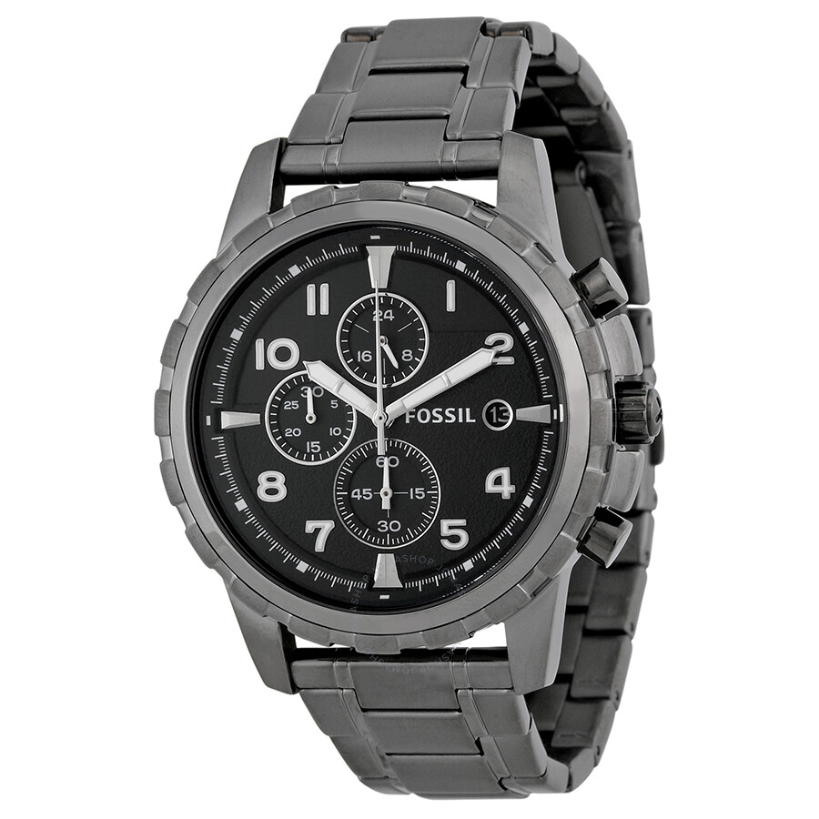 Fossil dean chronograph black dial smoke grey ion plated men 39 s watch fs4721 dean fossil for Fossil watches