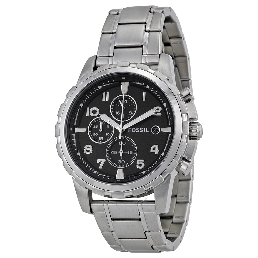 Fossil dean stainless steel bracelet black analog dial chronograph men 39 s watch fs4542 dean for Stainless watches