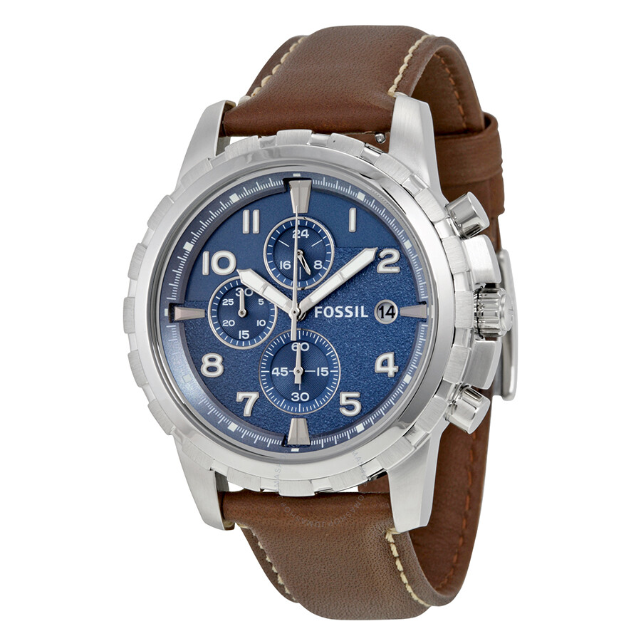 Fossil dean chronograph blue dial brown leather men 39 s watch fs5022 dean fossil watches for Fossil watches