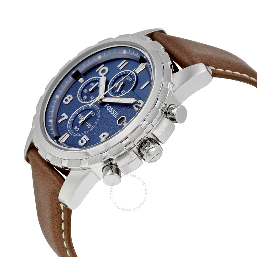 fossil dean chronograph blue dial brown leather men 39 s. Black Bedroom Furniture Sets. Home Design Ideas