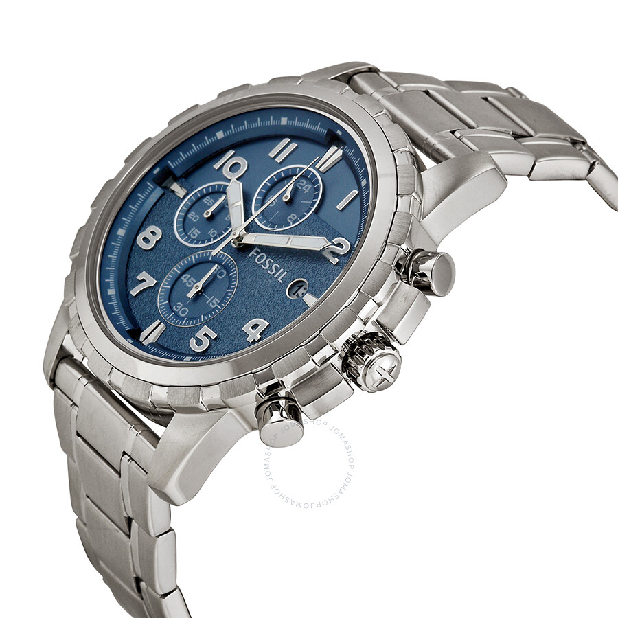 Fossil dean chronograph blue dial stainless steel men 39 s watch fs5023 dean fossil watches for Stainless steel watch