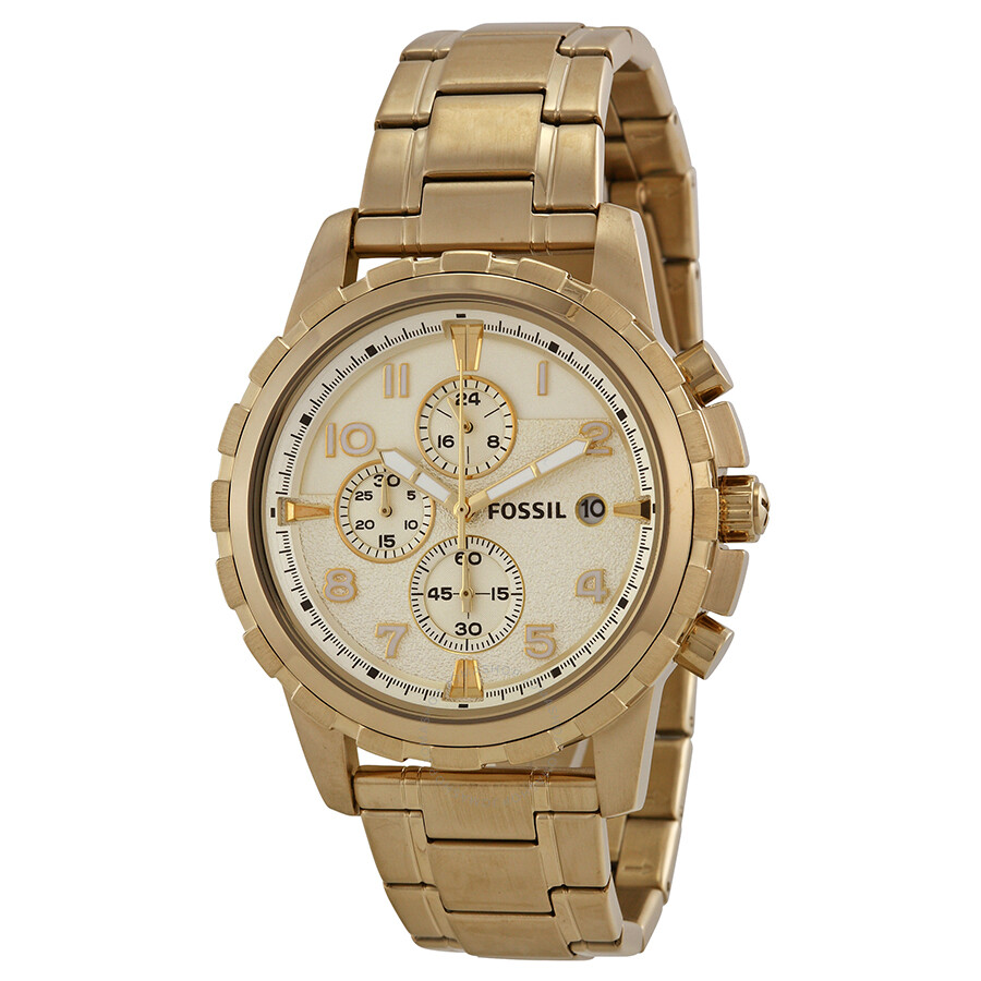 Fossil Dean Chronograph Champagne Dial Gold-tone Men's ...