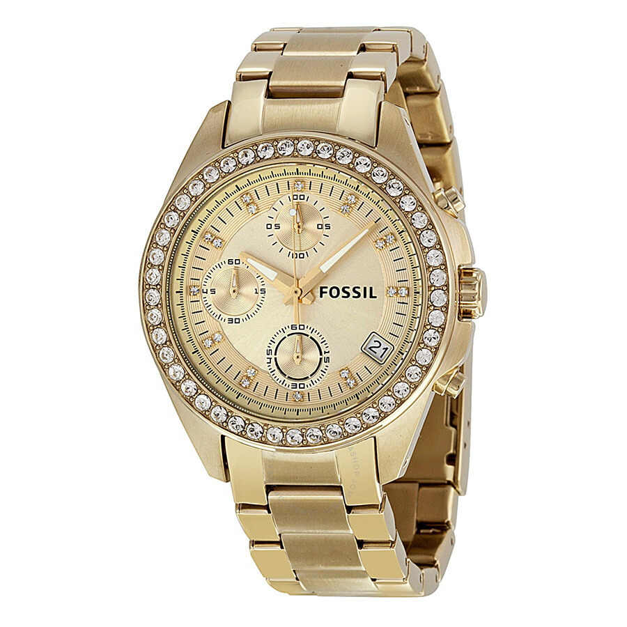 fossil decker chronograph chagne gold tone