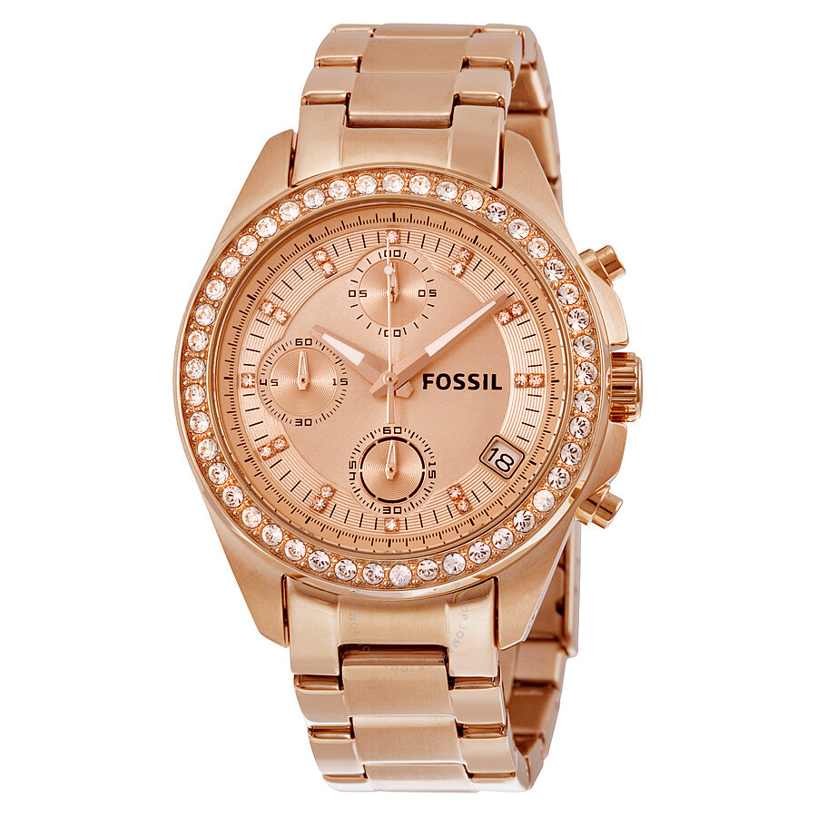 Fossil Decker Chronograph Rose Dial Rose Gold-tone ...