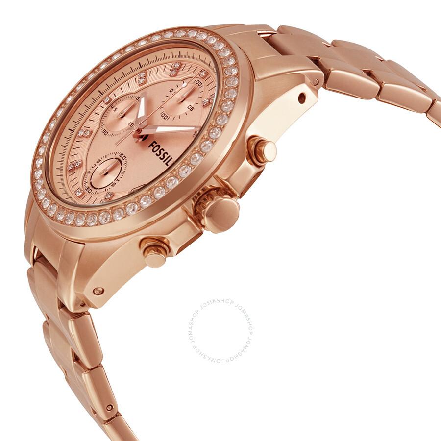 fossil decker chronograph rose dial rose gold tone bracelet ladies watch es3352 decker. Black Bedroom Furniture Sets. Home Design Ideas