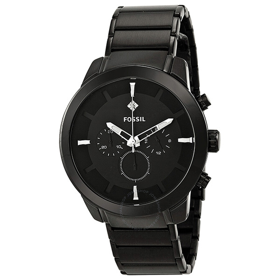 fossil dress chronograph black ion plated stainless steel. Black Bedroom Furniture Sets. Home Design Ideas