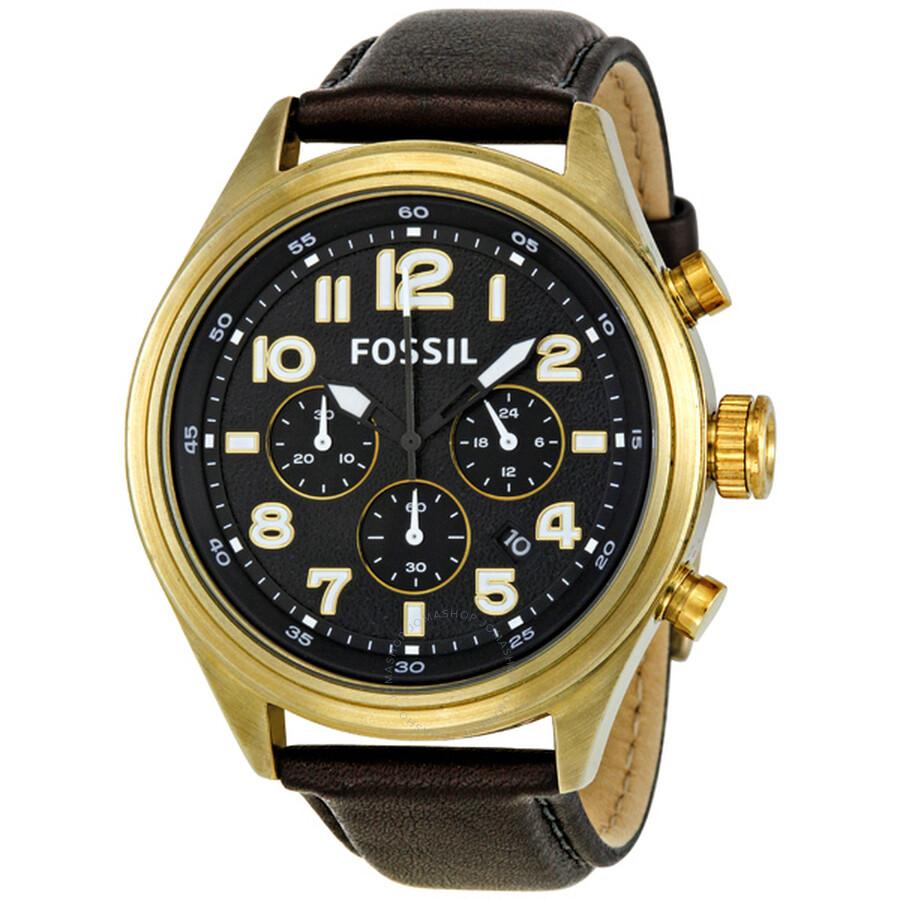 8d54e3ca1e1 Fossil Dress Vintage Bronze Black Leather Chronograph Men s Watch DE5000 ...