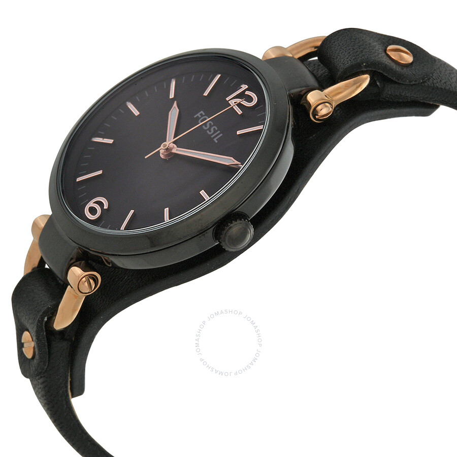 Fossil georgia black dial black leather strap ladies watch es3453 georgia fossil watches for Black leather strap
