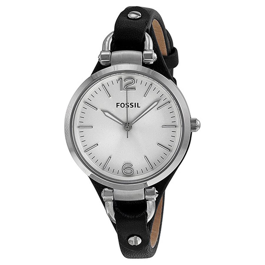 5d209509957a9 Fossil Georgia Silver Dial Black Leather Ladies Watch ES3199 ...