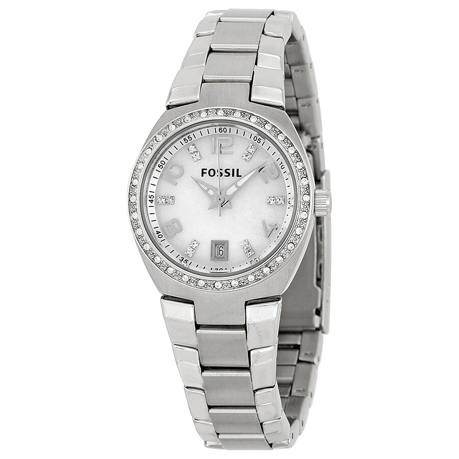 Fossil glitz mother of pearl analog dial ladies watch am4141 fossil watches jomashop for Mother of pearl dial watch