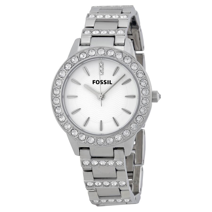 파슬 Fossil Glitz White Dial Stainless Steel Ladies Watch ES2362