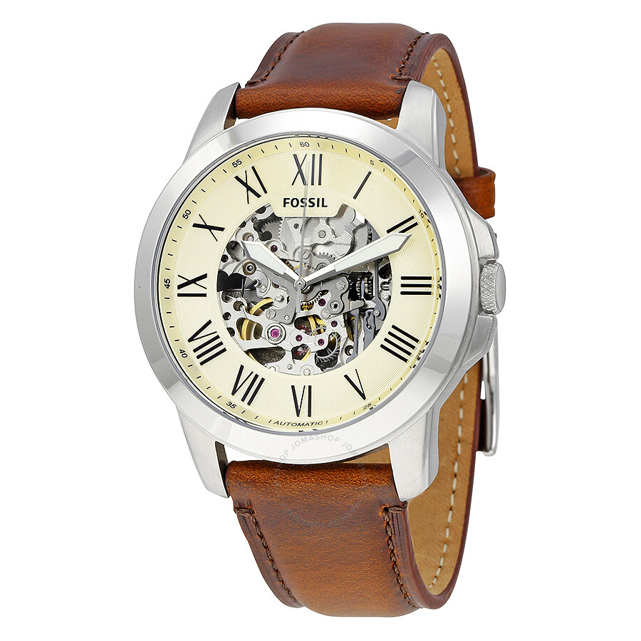 Fossil Grant Automatic Beige Skeleton Dial Brown Leather ...