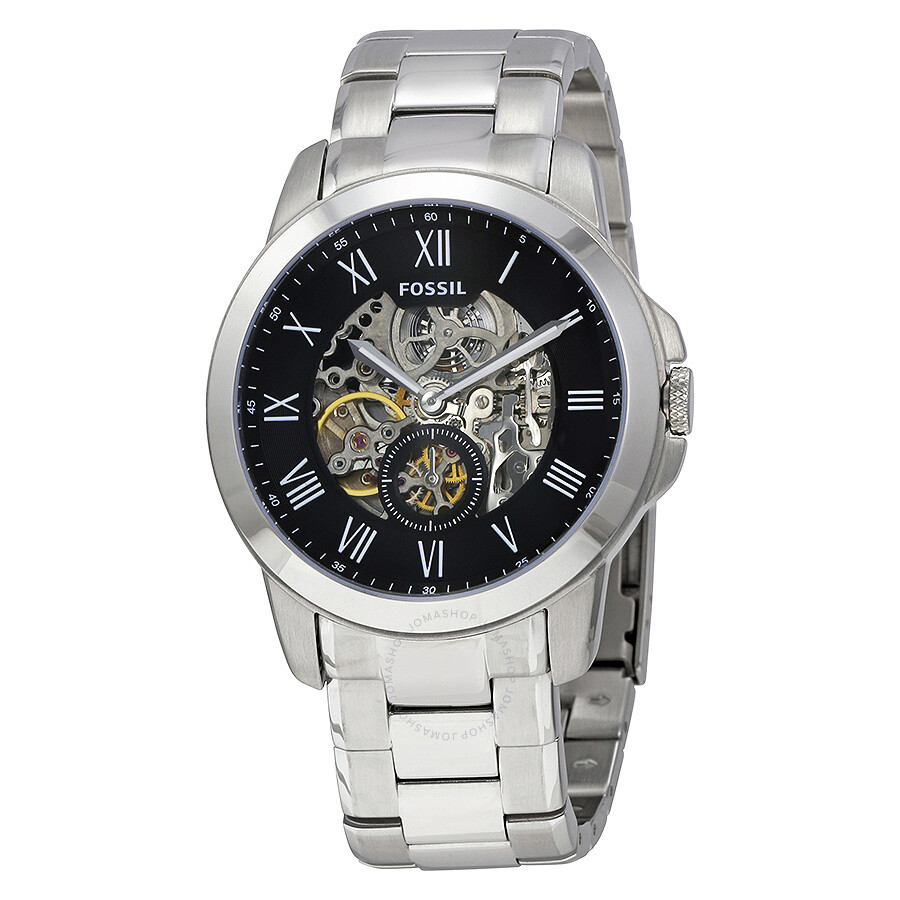 Fossil grant black dial men 39 s stainless steel watch me3055 grant fossil watches jomashop for Stainless steel watch