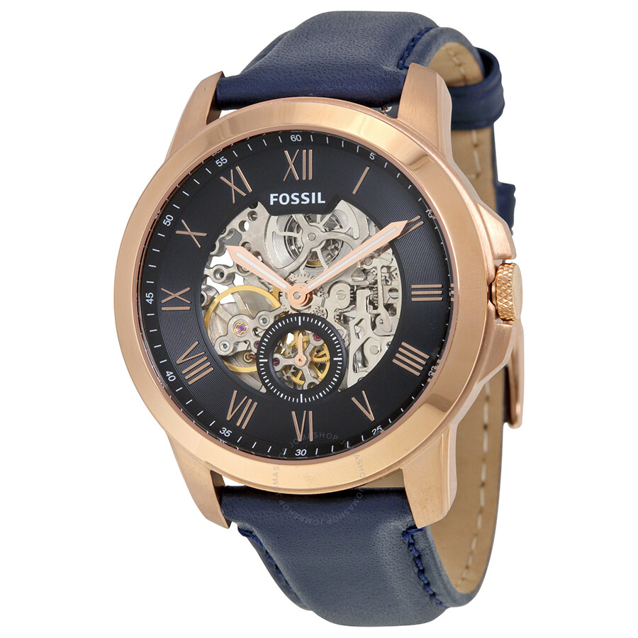 fossil grant automatic blue skeletal blue leather men s watch fossil grant automatic blue skeletal blue leather men s watch me3054