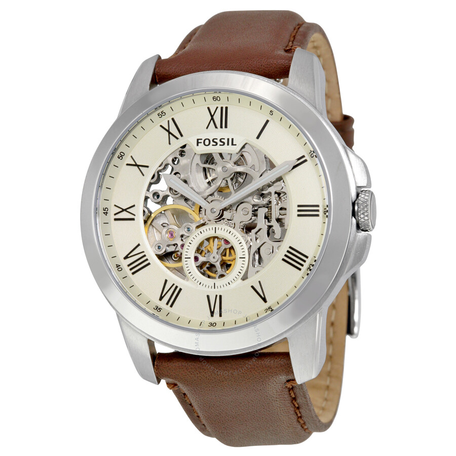Fossil grant automatic cream dial men 39 s casual watch me3052 grant fossil watches jomashop for Casual watches