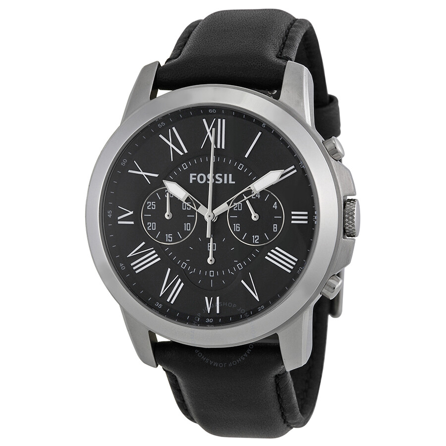Fossil Grant Black Dial Black Leather Men S Watch Fs4812