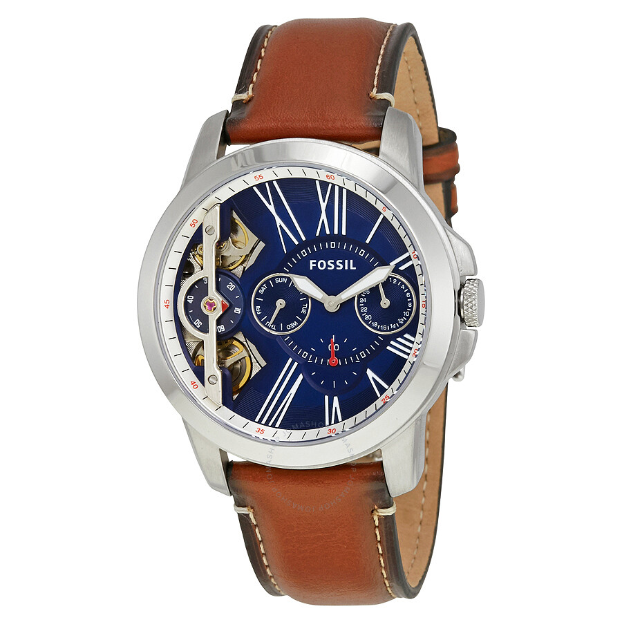 Fossil Grant Blue Dial Automatic Men's Chronograph Watch ...