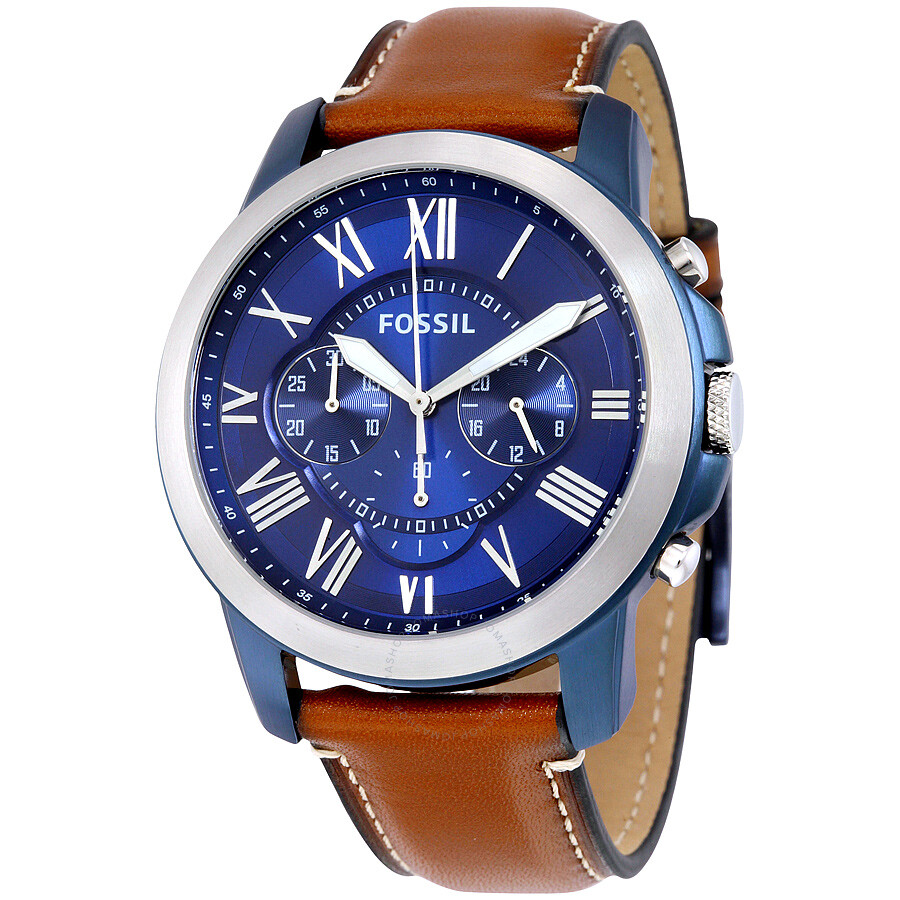 fossil grant blue dial chronograph leather men s watch fs5151