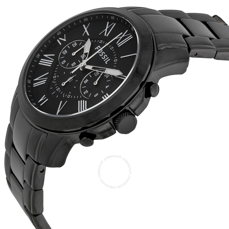fossil grant chronograph black dial black plated men 39 s. Black Bedroom Furniture Sets. Home Design Ideas